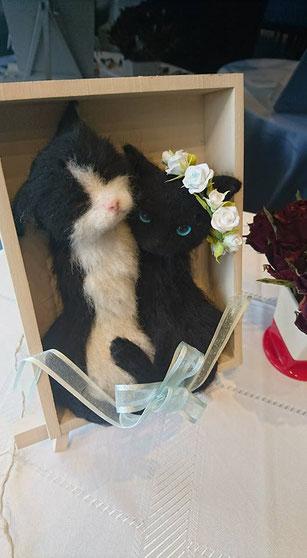 羊毛フェルト 黒猫 ハチワレ ウェルカムドール ねこ