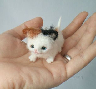 羊毛フェルト 三毛猫 リアル 小さい