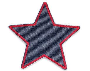 Bild: Stern Flicken zum aufbügeln aus dunkelblauem Jeansstoff mit roter Stickumrandung, Hosenflicken für Jeanshose