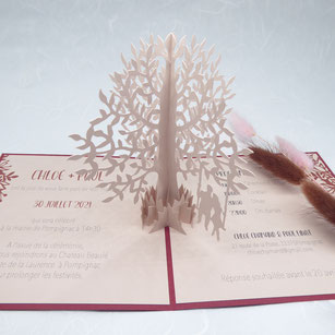 faire-part mariage pop-up la rose personnalisable