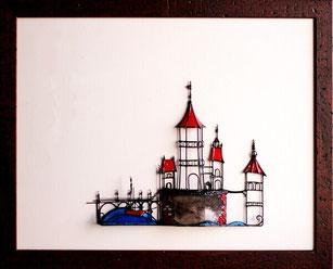 Miniaturbild Wasserschloss Burg mit Boot