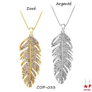 Collier à pendentif plume en métal doré ou argenté sertie de strass