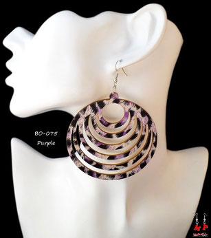 Boucles d'oreilles anneaux en bois pendants zébrés violets
