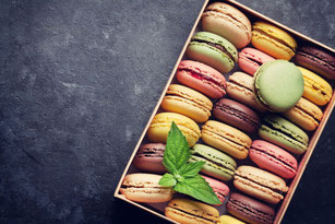 Colorful macarons in a box. One of the best sweet treat from Mediterranean area.