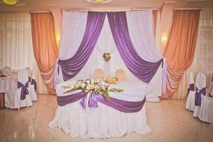 Оформление банкетного зада для свадьбы