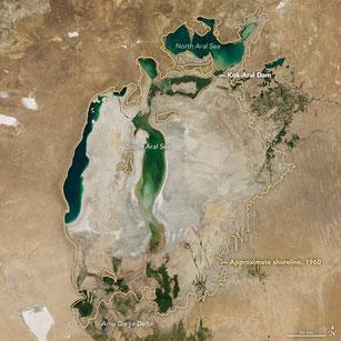 Der Aralsee im Jahr 2017 (Bild: NASA)