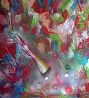 """""""VUVUZELA LEPATATA""""cm 87x82 agosto/settembre 2012 Opera a due mani degli artisti Roberto Galli e G.M.Zago"""