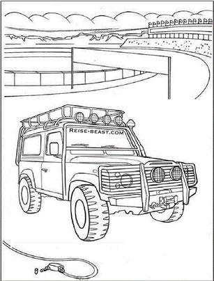 Land Rover Malbuch, Reise Malbuch, Overland Colorringbook, Reifenwechsel