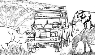 AFRIKA TOUR MALBUCH, AFRIKA MALBUCH, Tour durch Afrika, mit dem Land Rover durch Afrika