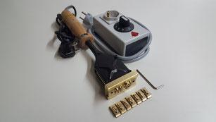 elektrischer Brennstempel mit Holzgriff, Wechsel-Typen und Leistungsregler