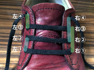 ハトメ4穴の場合・靴ひもを左1と右1に通したら、左1から左2~右2から右4、右1から右3~左3から左4へ