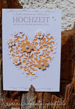 Glückwunschkarte zur Hochzeit mit  blühendem Herzen - Patricia Stich 2016 , SU