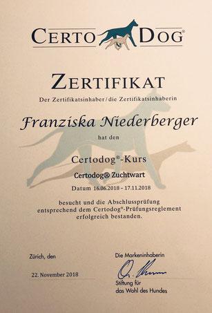 Am 22. November habe ich die Ausbildung zum Zuchtwart erfolgreich abgeschlossen.