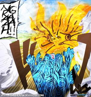 Kurama Vs. los 7 Bijus (Ilustración del Manga de Naruto Shippuden)