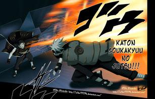 Obito Vs. Kakashi (Ilustración del Manga de Naruto Shippuden)