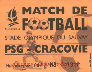 Ticket  Wisla Cracovie-PSG  2003-04