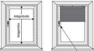 Plissee Montageoption: Montage am Fensterrahmen und Türrahmen