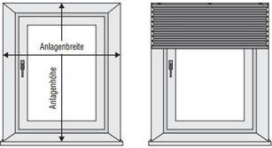 Plissee Montageoption: Montage vor das Fenster, entweder Wand oder Decke