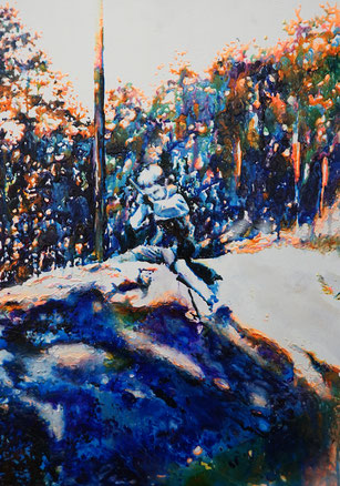 Eifel 2, Glasmalfarben auf MDF Platte, 84 x 60 cm, 2020