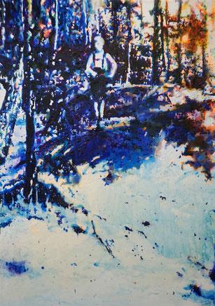 Eifel 1, Glasmalfarben auf MDF Platte, 84 x 60 cm, 2020