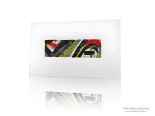 Quadro in mosaico contemporaneo  Esteso curve verdi