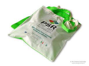 shopper personalizzata in tnt e cotone naturale accoppiati, borsa bicolor cm 38x42