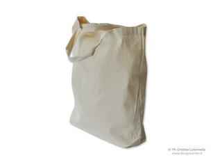 shopper in canvas con soffietto alla base