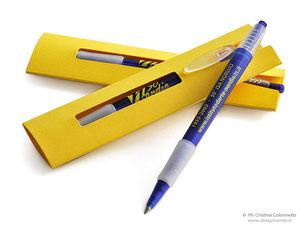 Penna promozionale in confezione con dedica Anniversario Scuola