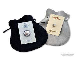 Spille da giacca custom in  argento e smalti