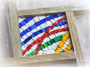 Lavorazione a mano  - formella mosaico - particolare
