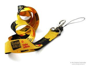 collarino portabadge in  raso cm 20 - gancio porta cellulare - logo Grado giallo  -