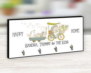 Schlüsselbrett Fahrrad Happy Home