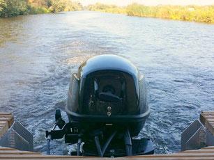 Blick Heck Motor Hausboot Floss Boot Urlaub Fluss Peene Kummerower See