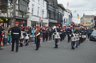 The Coventry Corps of Drums parade at Stratford-Upon-Avon