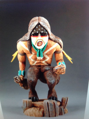 Quite rare, this is a Hopi Kachina of a skinwalker