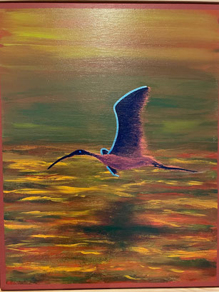 """""""Flying over the ocean at dusk"""" 44cm x 54cm Multimedia on canvas, pinewood frame $250 (excluding freight)"""