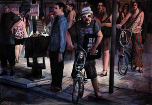 "Lukas Johannes Aigner, ""La Rambla"", Tusche/Acryl auf Papier, 2009"