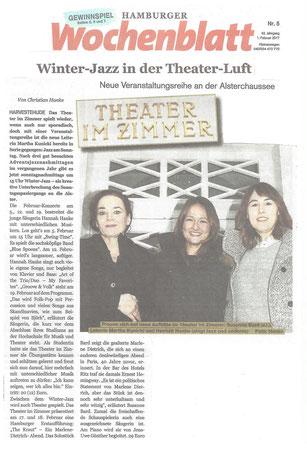 Jazz-Abende im Theater im Zimmer - Presseartikel Hamburger Wochenblatt