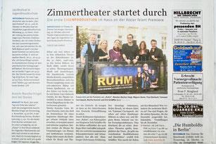 """Daniel Kehlmanns """"Ruhm"""" im Theater im Zimmer - Presseartikel Hamburger Wochenblatt"""