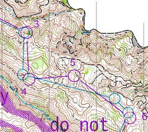 全日本オリエンテーリング大会M21E(男子最高位クラス)の当初案(水色)と実際のコース(紫)。細かい部分だが、3番はアプローチから見えにくい小さな谷の中に移している。4番もやや大きめの谷ではなく曖昧な斜面に移動することで丁寧なアプローチを要求している。5も同様である。
