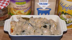 So sieht die vegane Käsesauce aus, bevor der Auflauf in den Ofen kommt.