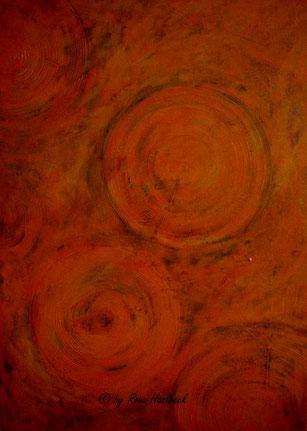 Acrylbild, acryl,kreise, orange, rot, bild, malen, malerei, kunst, geko, dekoration, wandbild, abstrakt