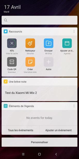 Xiaomi Mi Mix 2 raccourcis