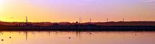 Sonnenuntergang in Wackerballig mit Blick auf den Yacht-Hafen