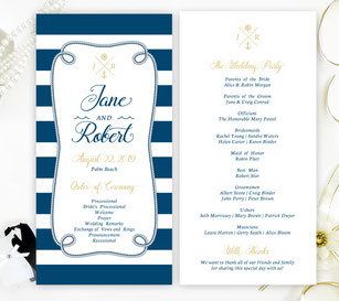 nautical themed wedding programs