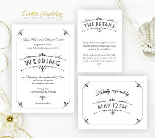 Black and white invitation sets
