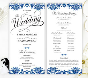 royal blue wedding programs