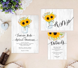wedding invitations with mason jar