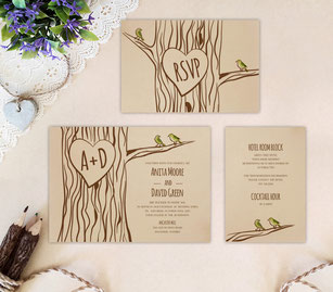 Tree wedding invitations set