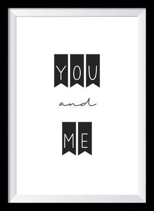 Typografie Poster Liebe, Typografie Print, you and me